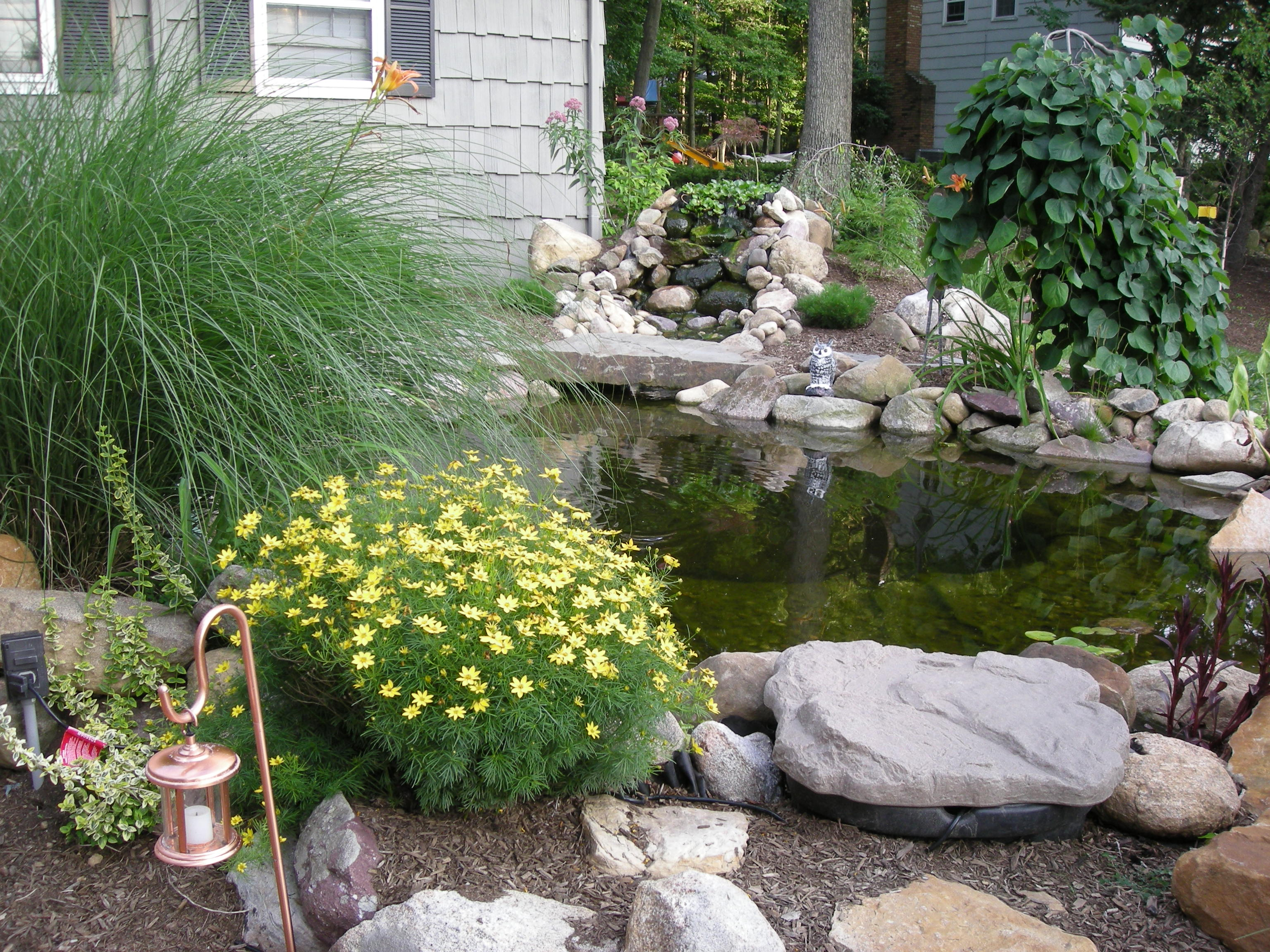 Landscaping landscaping ideas for front yard koi ponds for Pond ideas for small yards
